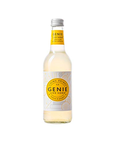 Genie Live Soda - Lemon & Ginger Live Soda - Sparkling Probiotic Drink - Vitamin C - No Added Sugar or Sweetener - 12 x 330ml Bottles