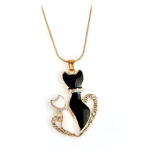 ZYLL Lindo Blanco Negro Color Oro Cadena de Serpiente Kitty Gato Colgante Collar Medio corazón Cristal Gato Sombra Collar para Mujer Regalo Encantador Regalo del día de la Madre