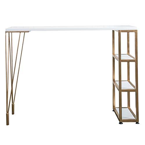 T-Table Lxn Pub-Tisch mit Kiefernholzplatte und goldenen Metallbeinen, Theken-Stehtisch mit Ablagefächern, Frühstücksecke, Esszimmer, Wohnzimmer, Kleiner Raum