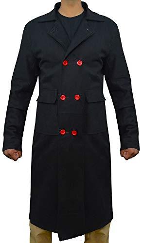 The Jasperz Detective Sherlock Holmes Benedetto Cumberbatch - Cappotto Lungo in Cotone Nero Nero XXX-Large