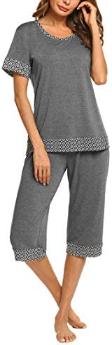 HOTOUCH Womens Summer Two Piece Pajama Set Short Sleeve Sleep Set grey xl product image
