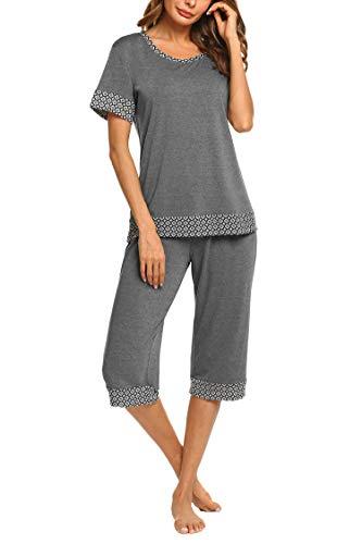 HOTOUCH Womens Ladies Comfort & Soft Loungewear Set Sleepwear PJs gray m