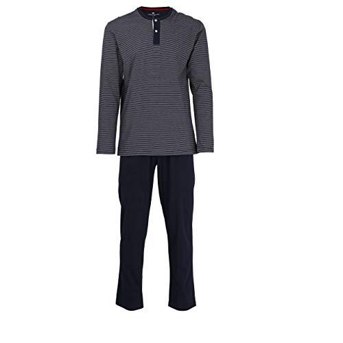 TOM TAILOR Herren Pyjama, Schlafanzug, Shirt und Hose, Langarm, Baumwolle, Single Jersey, blau gestreift 52