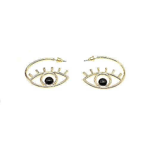 Orecchini a cerchio in lega con occhi maligni e occhi alla moda, unici astratti, orecchini pendenti per donne e ragazze esagerati