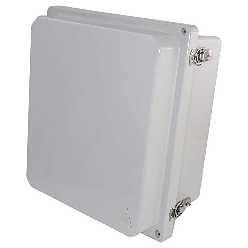 Altelix 14x12x8 FRP Fiberglass NEMA 4X Box Weatherproof Enclosure with Hinged Lid & Stainless Steel Latches