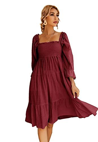 R.Vivimos Women's Summer Cotton Plaid Puff Sleeves Bow Casual Off-Shoulder Boho Midi Dress (X-Large,Burgundy)