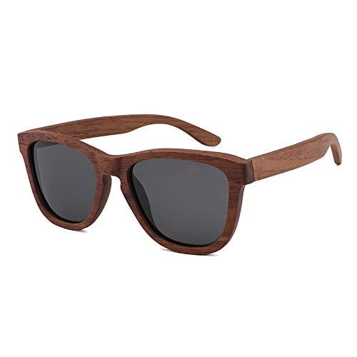 TYXL Sunglasses Gafas De Sol De Bambú En Gris Marron Retro De Tendencia for Hombre Gafas De Madera Polarizadas De Nogal Negro for Mujer (Color : Gray)