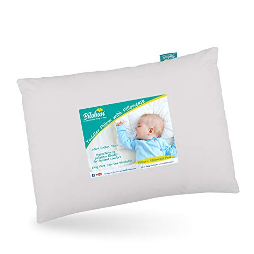 """Baby First Toddler Pillow with Pillowcase for Boys and Girls (13""""x 18""""), Hypoallergenic Toddler 's Flat Pillows for Sleeping, Oeko-TEX Standard 100 Certificated Travel Pillow Fits Crib, Gray"""