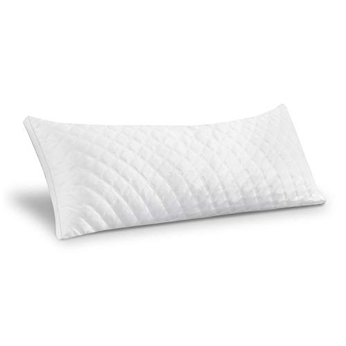 "LAFAVILLE Quilted Grey Body Pillows with Adjustable Fluffy Loft Fill – Hypoallergenic, Ergonomic, Extra Plush & Supportive 20"" x 54"" Down Alternative Pillow for Pain Relief, Gray"