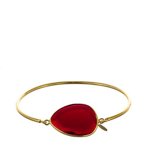 Córdoba Jewels | Pulsera en Plata de Ley 925 bañado en Oro con diseño Gota Rubí