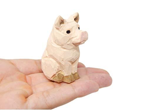 Native Wooden Creations Pig Figurine Statue Farm Small Barn Animal Art Home...