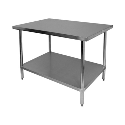 GSW All Stainless Steel Commercial Flat Top Work Table, 30 by 18 by 35-Inch
