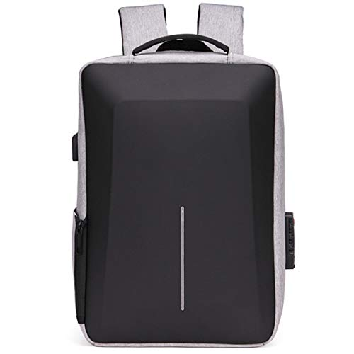 Large-Capacity Business Water-Repellent Backpack Male and Female College Students Business Computer Backpack Leisure USB Backpack Light Grey