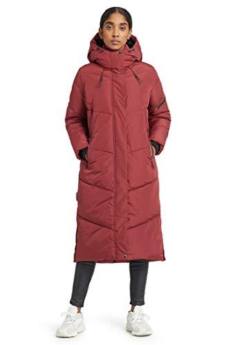 khujo Abrigo de mujer Sonje, largo hasta la rodilla, abrigo de invierno con capucha y cremallera rojo XXL