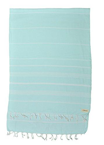 Bersuse 100prozent Baumwolle - Anatolia XXL Strandtuch Sofa-Überwurf - Aquamarin Anatolia XL Blanket Turkish Towel 155x210 cm