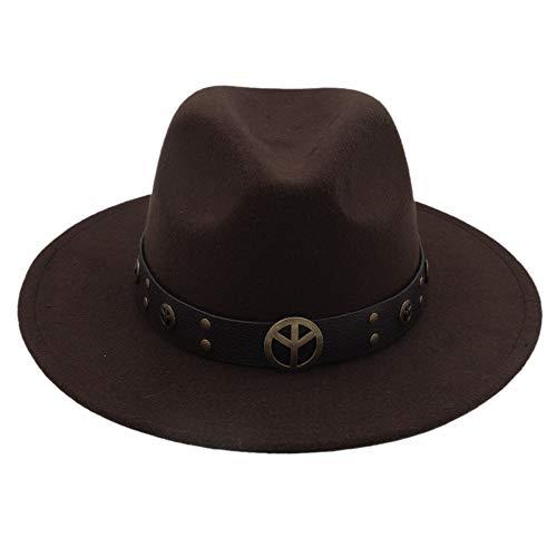 CHENJUAN Moda Invierno Otoño Imitación Lana Mujeres Hombres Damas Sombreros Top Jazz Sombrero Redondos Americanos Europeos Gorras sombreros (Color : Café, tamaño : 56-58cm)