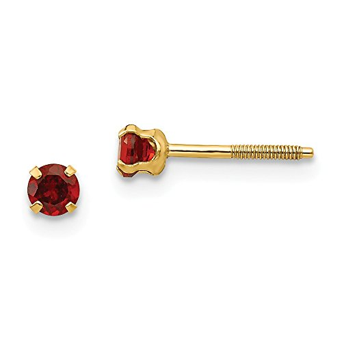 14k Yellow Gold 3mm Red Garnet Earrings Birthstone January Stud Gemstone Fine Jewelry For Women Gifts For Her