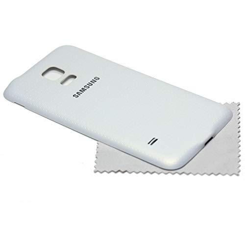 Akkudeckel für Samsung Original für Samsung Galaxy S5 G800F Mini Back Cover Rückwand weiß mit mungoo Displayputztuch