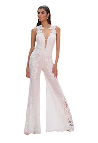 HYC Spitze Jumpsuits Hochzeitskleider Frauen Jumpsuit Frauen Anzüge Spitze Blume Hochzeitskleid - Elfenbein - 54