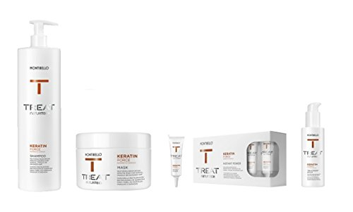 montibello naturtech Keratin Force Shampoo 1000ml, Máscara 200ml, Instant Power 12ml (10) y bálsamo para tratamiento 150ml