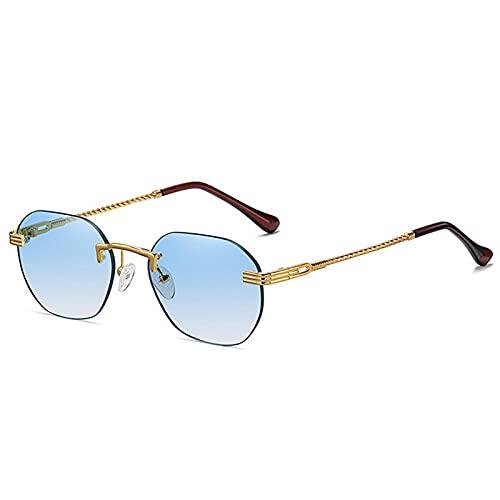 QWKLNRA Gafas De Sol para Hombre Marco Dorado Lente Azul Gafas De Sol Deportivas Polarizadas Gafas De Moda Vintage Retro Gafas De Sol Redondas Pequeñas para Hombres Mujeres Gafas De Sol Rectangular