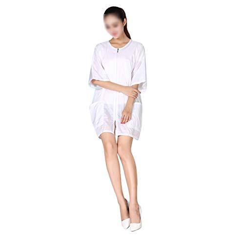 PIXNOR Arbeitsschürze mit Taschen Ärmel Haarschneiden Umhang Schürze Salon Berufsbekleidung Kosmetiker Friseur Uniform Kleid SPA Cape 84 x 56 cm (Weiß)