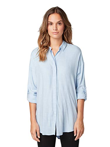TOM TAILOR Damen Blusen, Shirts & Hemden Bluse mit Tape-Detail Kentucky Blue,36