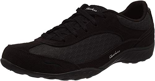 Skechers Breathe-Easy-Simply Sincere, Zapatillas Mujer, Negro (BLK Black Suede/Mesh/Charcoal Trim), 38 EU