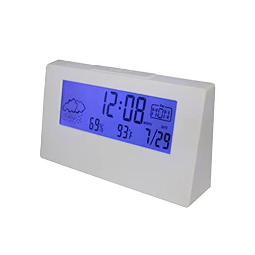 Artibetter Reloj Despertador de Viaje Digital con Pantalla Meteorológica LCD Pantalla de Humedad Y Temperatura Alarma para Dormir Recordatorio Electrónico de Gestión del Tiempo