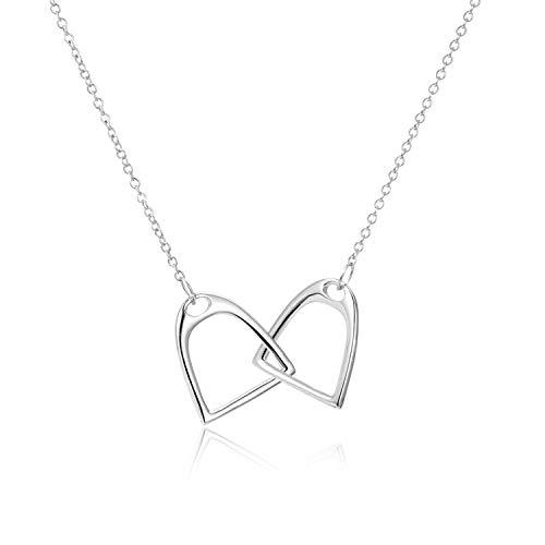 YFN Halskette mit Pferde-Anhänger aus 925er Sterlingsilber, Steigbügel-Interlock, Geschenk für Frauen und Mädchen