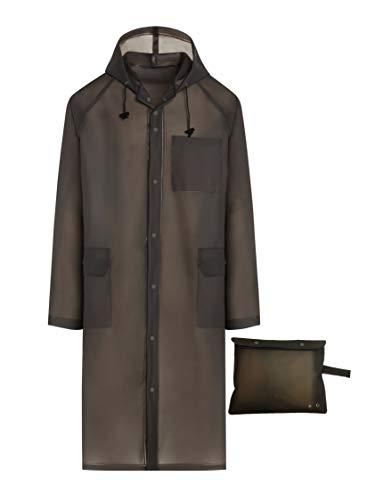 Portable Rain Poncho, Unisex Rain Jacket with Drawstring Hood and Pockets - Gray