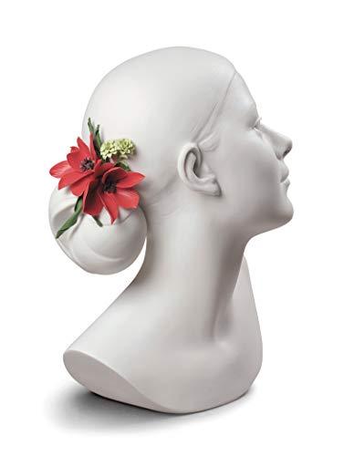 LLADRÓ Busto Mujer Lily con Flores. Figura Busto De Mujer de Porcelana.