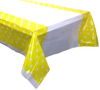 "Just Artifacts Decorative Plastic Rectangular Tablecloth/Cover - 3 Pack- (70"" L x 43"" W) - Polka Dot Pattern: Lemon Yellow - Decorative Table Cloths for Weddings, Birthday Parties and Life Events"