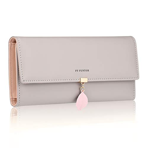 FT Funtor RFID Wallets for Women, Leaf Card Holder Trifold Ladies Wallets Coins Zipper Pocket with ID Window Gray