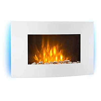 Klarstein Lausanne Electric Fireplace - 2000W, Built-In Fan Heater, Dimmer Function, LED Flame Effect, Glass Panel, Remote Control Panel, Powerful and Quiet Operation, Dimmer, White