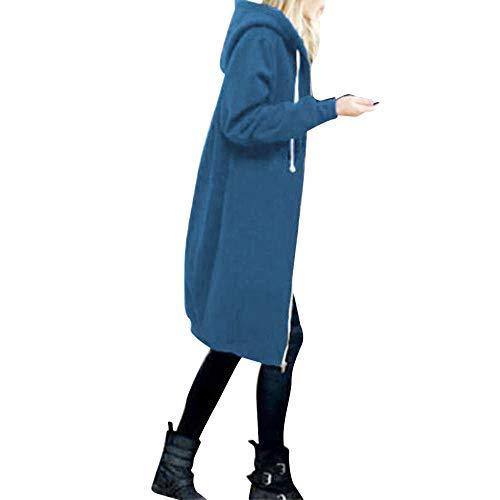 OverDose Damen Herbst Winter Outing Stil Frauen Warm Reißverschluss Öffnen Clubbing Dating Elegante Hoodies Sweatshirt Langen Mantel Jacke Tops Outwear Hoodie Outwear(Blau,EU-44/CN-XXL)