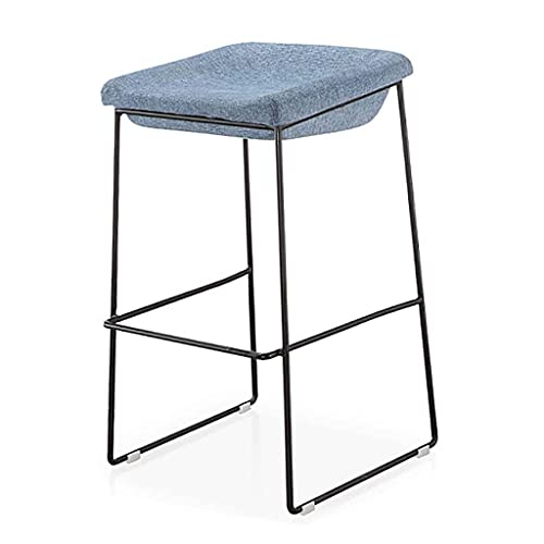 VERDELZ Home Barstool Chair with Cotton Linen Soft Seat and Backrest, 27.6''H, Solid Heavy Metal Legs 10KG