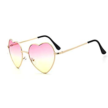 Meyison Heart Shaped Sunglasses Thin Metal Frame Cute Aviator Style Eyewear Gold frame/gradient red lens