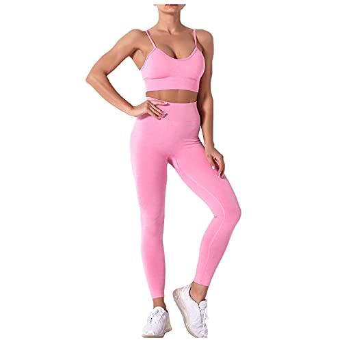 Conjunto de Ropa de Deporte Color Sólido para Yoga Tops Push Up y Leggings de Cintura Alta Pantalones Deportivos Transpirables Elásticos Ropa de Deporte de Yoga para Correr Gym Fitness
