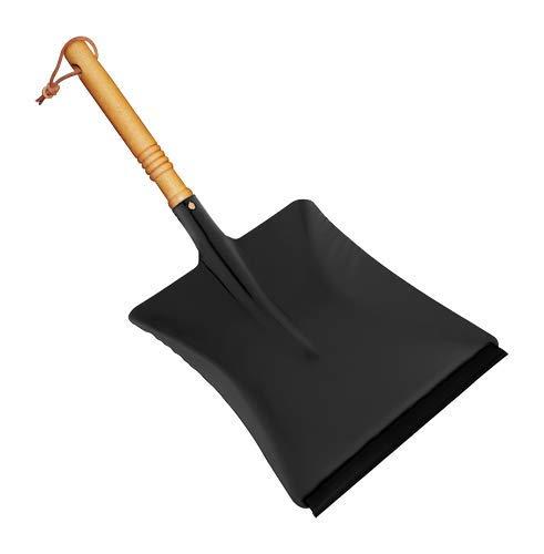Redecker Kehrschaufel, schwarz, mit Gummilippe, geölter Buchenholzgriff, pulverbeschichtetes Metall, Größe: 45 cm