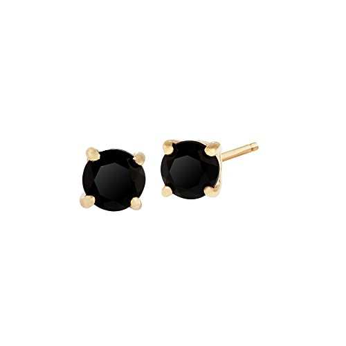 Gemondo Women 375 Gold 9ct Yellow Gold Round Onyx Classic Claw Set Stud Earrings Black 3.50mm