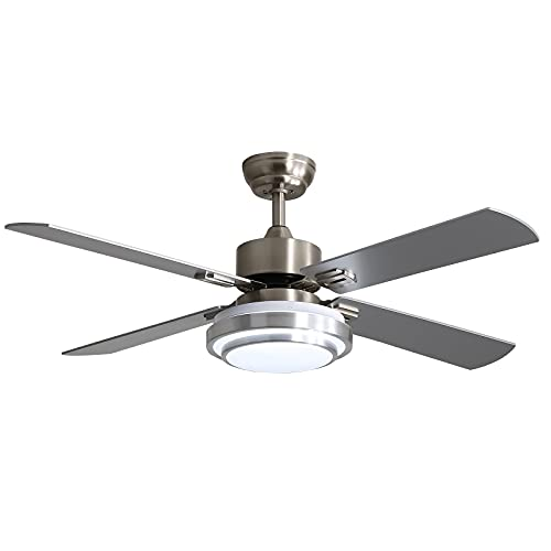 warmiplanet Ceiling Fan with Lights Remote Control, 52 Inch, Brushed Nickel Motor (4-Blades)