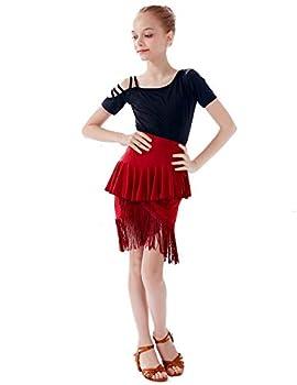 Kid s Girls Latin Dance Dress Fringe Ballroom Salsa Tango Practice Dress with Fishtail Latin Skirt Black-Burgundy