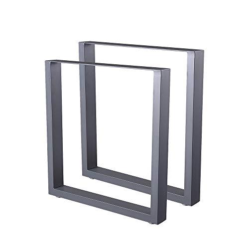 Zelsius Tischbeine Tischkufen Tischgestell 2 Stück Metall Kufen Rohstahl oder Grau I verschiedene Größen I Industrie ((B) 70 x (H) 72 cm, Grau (Pulverbeschichtung))
