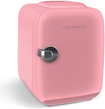 CROWNFUL Mini Fridge, 4 Liter/6 Can Portable Cooler and Warmer Personal Fridge for Skin Care, Cosmetics, Food,Great for Bedroom, Office, Car, Dorm, ETL Listed (Pink)