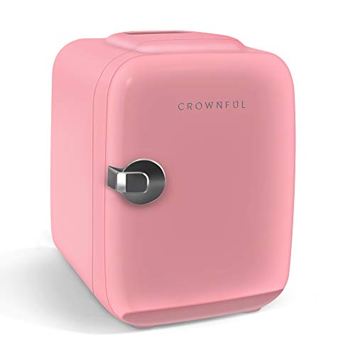 CROWNFUL Mini Fridge, 4 Liter/6 Can Portable Cooler and Warmer Personal Fridge for...