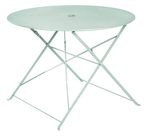 PEGANE Table Ronde Pliante en métal, Coloris Mint - Dim : D100 x 70cm