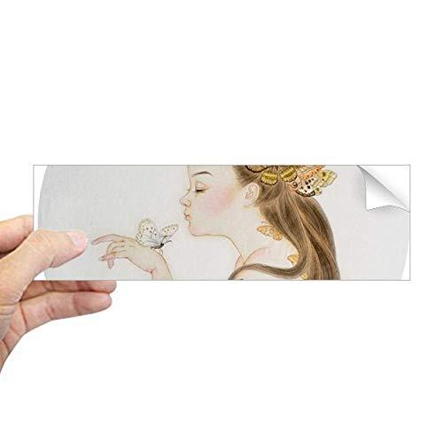 DIYthinker Pretty meisje Vlinder Chinese Schilderij Rechthoek Bumper Sticker Notebook Window Decal