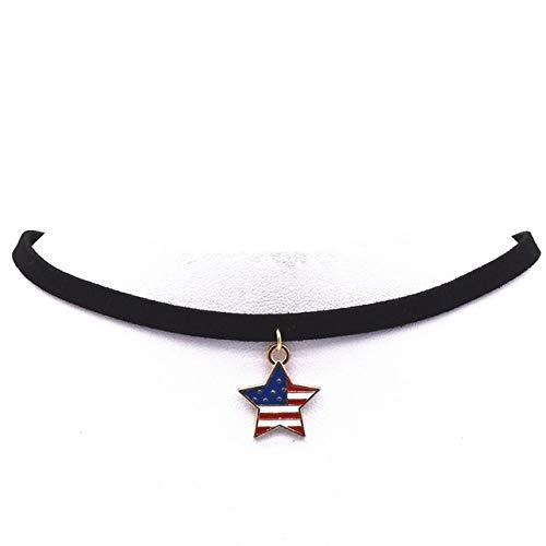 CWQAN Collar De Mujer, Forma De Estrella USA Torques Liso Colgante De Cristal De Cuero De Terciopelo Negro Maxi Collar De Gargantillas De Declaración para Joyería De Mujer