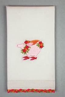 Patience Brewster Rose Flying Pig Tea Towel
